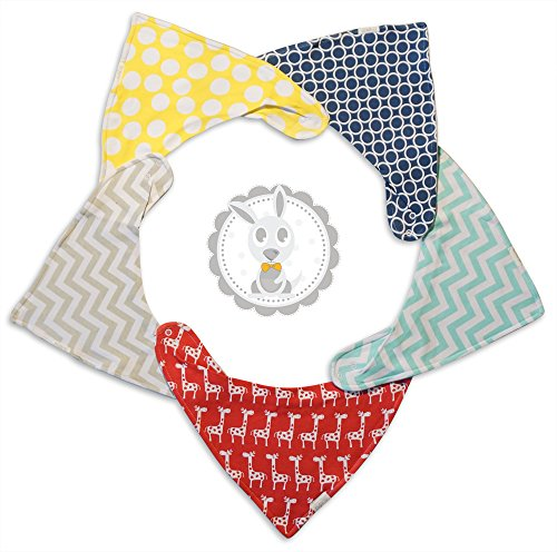 Waterproof Baby Bandana Drool Bibs with Cotton Front, Fleece Back, Adjustable Snaps for Eating, Drooling or Baby Shower, Newborn To 24 Months (5 Pack Set in Unisex Patterns for Boys and Girls) (Waterproof Bandana)