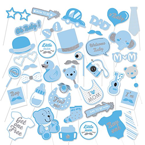 39Pcs Blue Glittering Baby Shower Photo Booth Props Baby Boy Shower Blue Theme Party Fvors Supplies Great for Lovely Baby, Baby Shower Party (Baby Bear Photos)