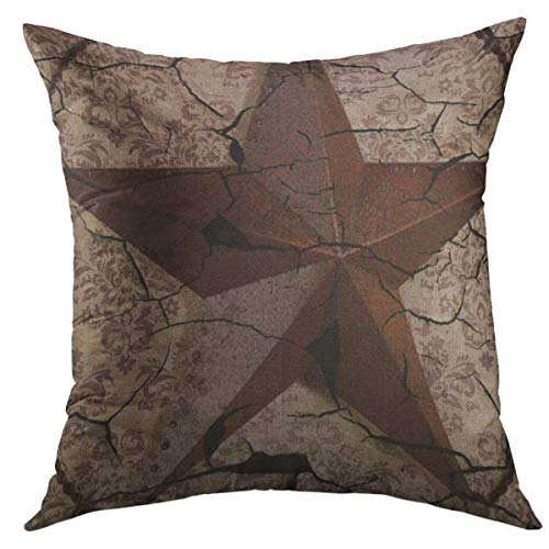 Mugod Decorative Throw Pillow Cover for Couch Sofa,West Western Country Primitive Texas Star Saloon Home Decor Pillow Case 18x18 Inch (Covers Couch Western)