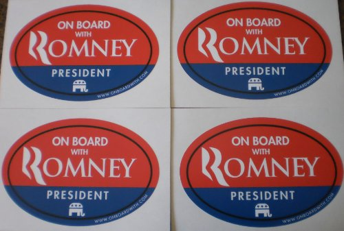 "Quantity 4 - MITT ROMNEY PRESIDENT 4""x6"" OVAL BUMPER STICKER (decal car sign gop republican 2012 presidential election anti obama nobama) by OnBoardWith.com"