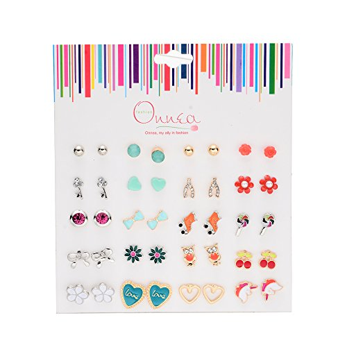 Onnea 20 Pairs Multicolor Assorted Cute Animal Heart Earrings Set For Girls,Hypoallergenic
