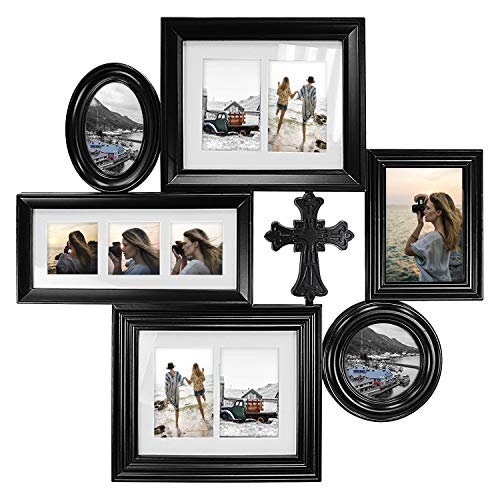 Hello Laura - Photo Frame Holy Cross 28x28 Black Picture Frame - Made to Display Pictures 4x6 3x3 5x7 - Wide Molding - Multi Selfie Gallery Collage Wall Hanging Wall Mounting Design
