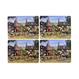 SET OF 4 VINTAGE COUNTRY FARM ANIMALS BROWN LAMINATED CORK PLACEMATS 29X22X0.5CM