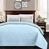 ALPHA HOME Lightweight Bedspread Twin Size Summer Blanket Bed Quilt, Light Blue