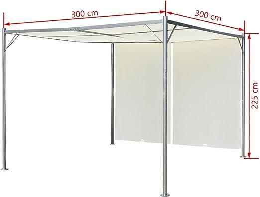 vidaXL Cenador de Acero con Toldos Retráctiles Blanco Crema 3x3x2,25 m Pérgola: Amazon.es: Hogar