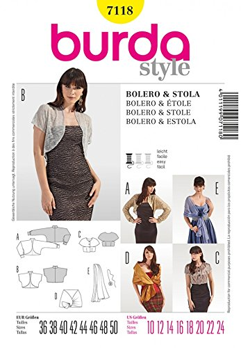 Burda Ladies Easy Sewing Pattern 7118 Bolero, Jacket, Stole & Scarf Accessories