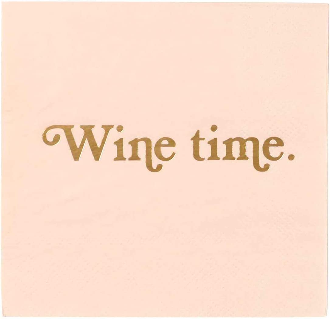 X&O Paper Goods Pink ''Wine Time'' Paper Cocktail Napkins, 20pc, 5.5'' x 5.5''