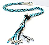 550 Paracord Motorcycle Whip Get Back whip Ball & Skulls 36'' Rope - Gray/TEAL/Black