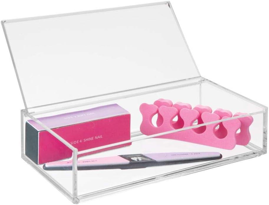 mDesign Organizador de Maquillaje – Gran Caja organizadora baño para cosméticos y Productos de Belleza – con Tapa – Transparente: Amazon.es: Hogar