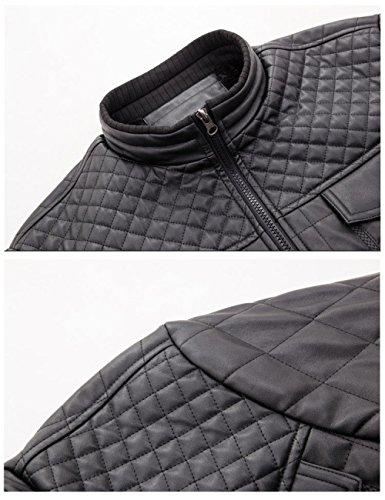 And Soft Men Leather Leather Jacket Korean Plus Autumn Line Fashion Winter aged Blue Classic Grid Version Old Cashmere Middle PU rRIfR6AF