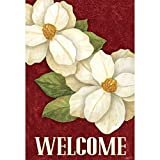 Welcome White Magnolias Brushed Crimson 30 x 44 Rectangular Large House Flag For Sale