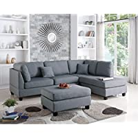 Pistoia 3 Pieces Sectional Sofa with Ottoman Upholstered in Gray Linen-like Fabric