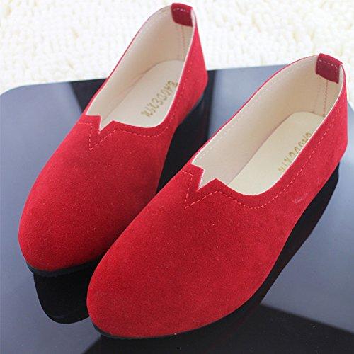 Piel Sintética Rojo Mujer Planos Bailarinas Moda Elegancia y de Básicas Zapatos nwYXp5xq6