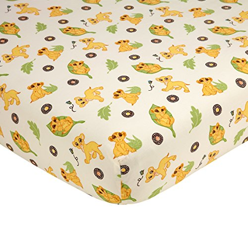 Disney Lion King Simba's Wild Adventure 100% Cotton Fitted Crib Sheet, Ivory, Sage, Butter, - Toddler Jungle Bedding Adventure