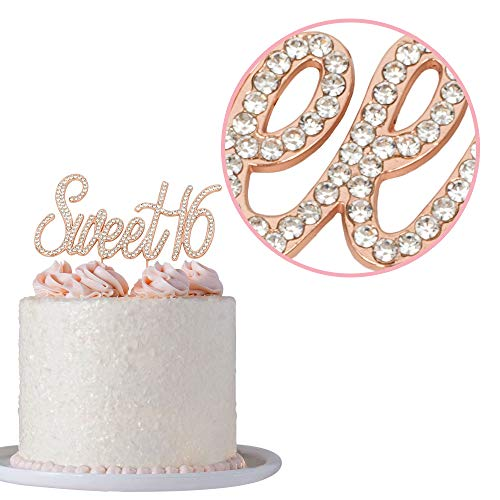 Sweet 16 Cake Topper | Rose Gold Sweet Sixteen Rhinestone Cake Topper |  16th Birthday Party Decorations | Premium Sparkly Bling Crystal Diamond