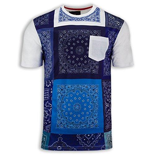 NEW Men Bandana Print Shirts Chest Pocket Short Sleeve ALL SIZES Stretchy Shirt (L, Blue)