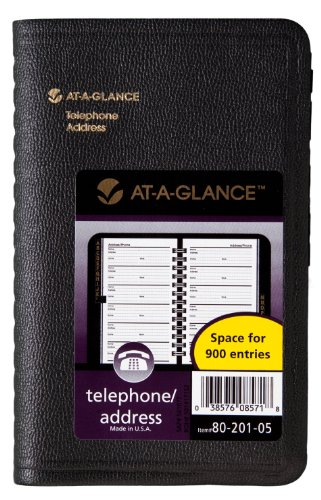 - AT-A-GLANCE Undated Telephone and Address Book, Black, 3.75 x 6.13 Inches (80-201-05)
