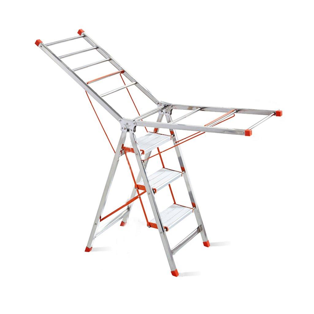 Wing-type Folding Drying Rack, Three-step Ladder Drying Rack, Multi-purpose Indoor Drying Rack, Carbon Steel -60cm 45cm H144cm, Load-bearing 130kg