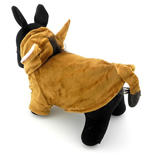 Ranphy Small Pet Clothes for Dogs Cats Fleece Horse Costume with Hood Jacket Coat Halloween Clothing Brown (Christmas Costumes For Horses Ideas)