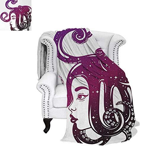 Summer Quilt Comforter Female Profile Illustration with Octopus on Her Head Creative Art Digital Printing Blanket 90