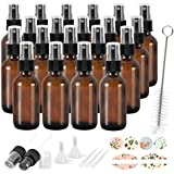20 Pack 2 oz 60 ml Amber Glass Spray Bottles with Fine Mist Sprayer & Dust Cap for Essential Oils, Perfumes,Cleaning Products