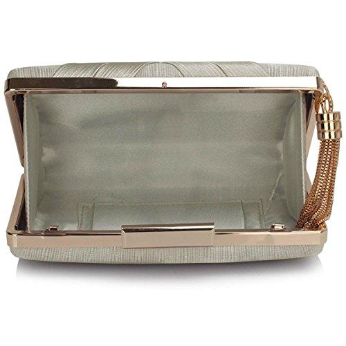 Xardi London Satén (talla M, bailes Clutch Baguette compacto Duro mujeres noche bolsas plata