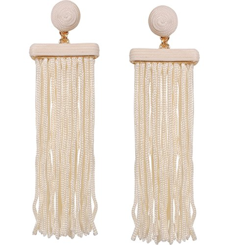 Humble Chic Silky Soiree Tassels - Long Thread Fringe Dangle Statement Drop Earrings, Off White Bar Tassel, Ivory-Colored, Cream, (White Circular Earring)