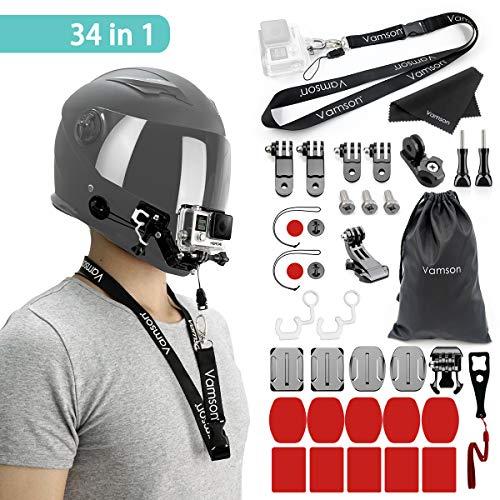 Vamson Helmet Mount Kit Jaw Swivel arm 4 Ways Pivot Arms Front + Side Mount with Adhesive Pads for GoPro Hero 7/Hero 6/Hero 5/Session5/4/3+/3/2/1/SJ4000/5000/6000/AKASO/APEMAN/DBPOWER and More (G Pro Hero Camara)
