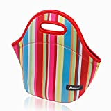 Lunch Bag, Potensic® Neoprene Lunch Bag Insulated Thermal Cooler Lunch Tote Container with Heavy Zipper – Rainbow Pattern