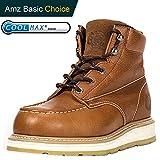 ROCKROOSTER Composite Toe Work Boots for Men, Steel Toe Waterproof Safety Working Shoes (AP808-soft, 8.5-BRN)