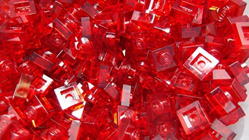 100x New Lego 1x1 RED Translucent SQUARE PLATE DOT Lego ID# - Translucent Square