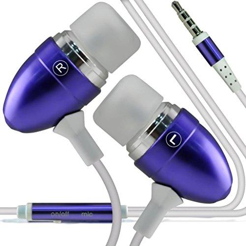 N4U Online - Apple iPhone 3Gs Des bourgeons de qualité Premium à oreille stéréo mains libres casque Headset avec construit en Mic Microphone & bouton marche-arrêt- Pourpre