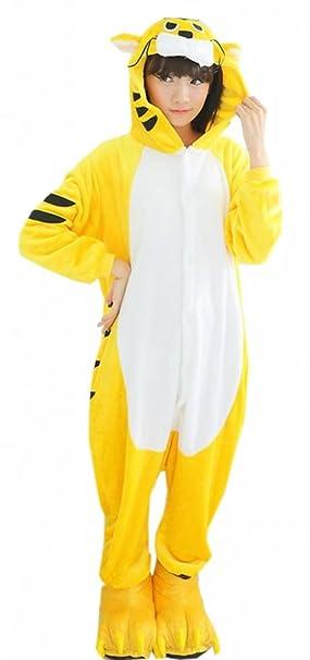 EOZY Pijamas/Disfraz De Animales Para Mujer Hombre Adulto - Franela Tigre Amarillo,XL