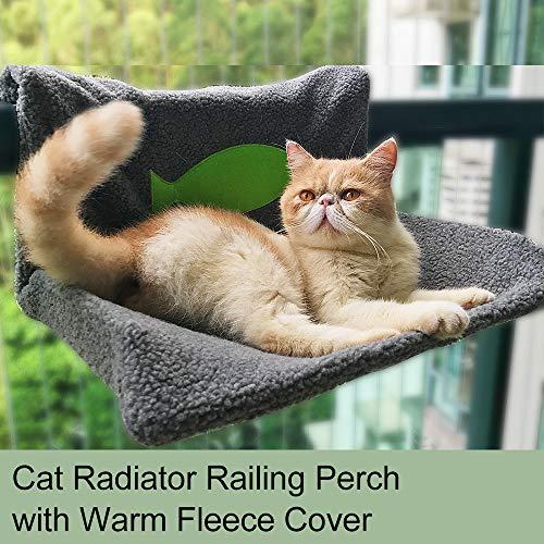 pedkit Hanging Cat Hammock, Cat Radiator Bed, Cat Railing Perch Hammock, Warm Fleece Bed for Cat Puppy Kitten Dog Pet (Grey)