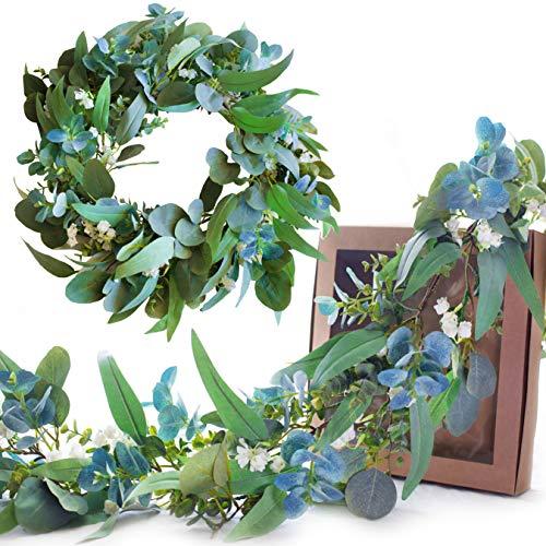 Eucalyptus Garland Greenery Garland - Silver Dollar Eucalyptus and Eucalyptus Leaves - with White Flower Greenery Garland - Baby Shower Decorations Wall Decor Wedding Faux Decor Artificial Vine