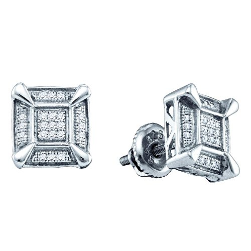 Silver Diamond Cluster Earrings (Sterling Silver Mens Round Diamond Square Cluster Stud Earrings 1/8 Cttw)
