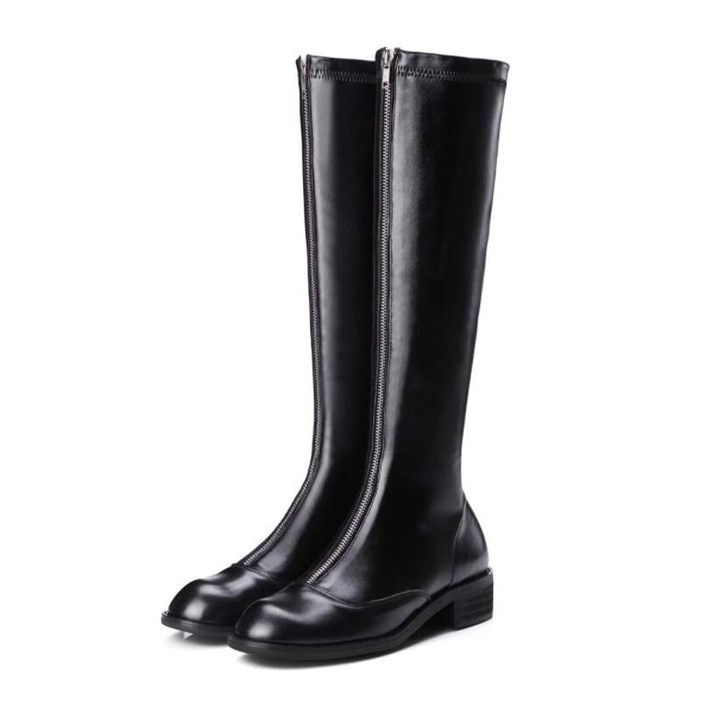 XHCP Stiefel Herbst Und Winter Front Reißverschluss Schlanke Dame Flach Unten Über Den Knie Stiefeln Elastische Stiefel Stiefel Leder Damenstiefel,37