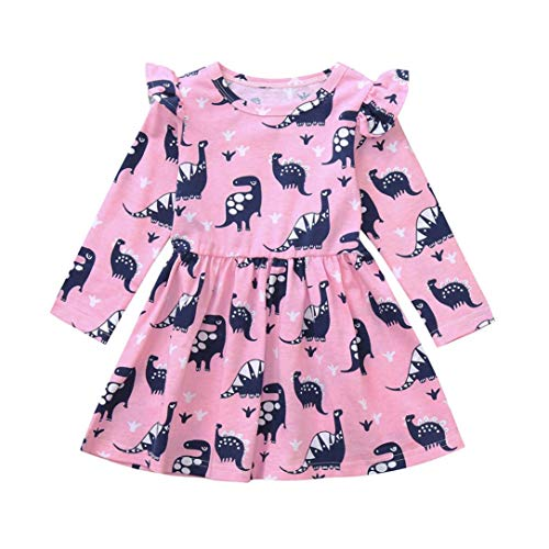 Moonker Girls Princess Dress 1-5 Years Old,Toddler Baby Girls Kids Clothes Long Sleeve Dinosaur Printing Party Dress (2-3 Years Old, Pink) -