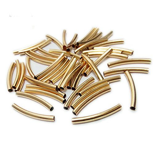 20 pcs Tube Spaces Beads Metal Chain Connectors Beading Bracelet Leather Cord Ropes Necklace Pendant Smooth Jewelry Hollow Charms Accessories Findings (KC Gold, 3 x 25 mm Hole 2 mm) - Hollow Bead Chain
