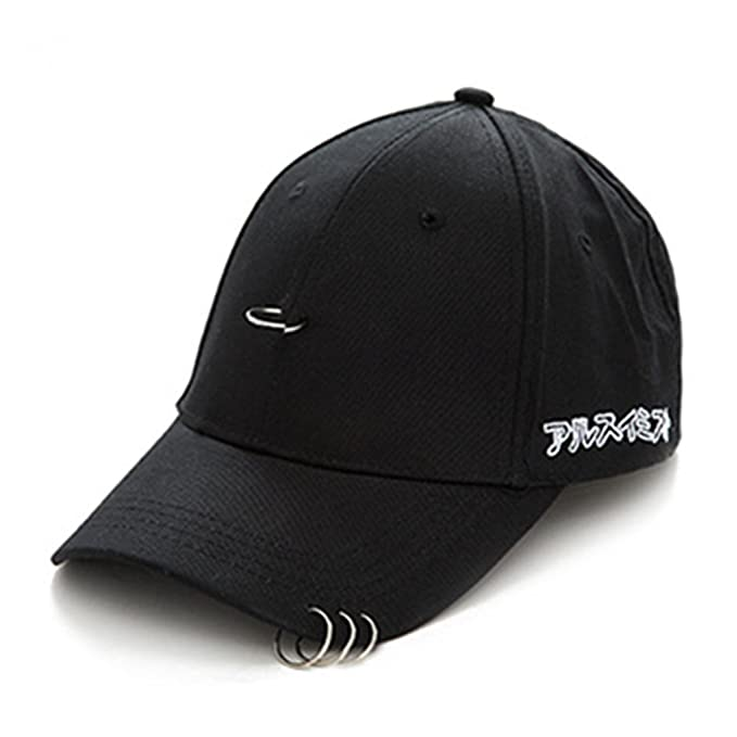 58a5feb728ba0 Oksale® Clip Ring Embroidery Cotton Unisex Snapback Hip Hop Hat Baseball Cap  (Black) at Amazon Men s Clothing store