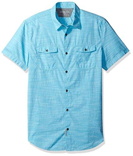 Snap Close Western Shirt (Calvin Klein Jeans Men's Cross Hatch Slub Short Sleeve Button Down Shirt, Turquoise, Large)