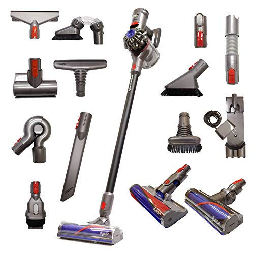 Dyson V7 Absolute Cordless Stick Vacuum Cleaner with 14 Tools Including Whole Home Cleaning Kit and Allergy Kit | Rechargeable, Cord-Free, Lightweight, Powerful Suction - Limited Black Edition
