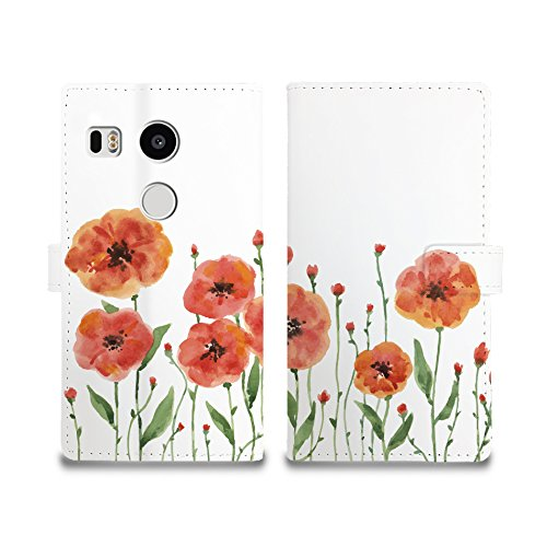 CasesByLorraine Nexus 5X Case, Full Protection PU Leather Wallet Cover Flip Case [Card Slots] [Magnetic Closure] [Stand Feature] for LG Google Nexus 5X - Watercolor Flowers Garden