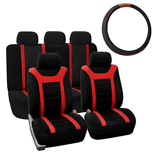FH Group FB070115+FH2003 Sports Fabric Car Seat Covers, Airbag compatible and Split Bench w. FH2003 Leather Steering Wheel Cover, Red/Black Color- Fit Most Car, Truck, Suv, or Van