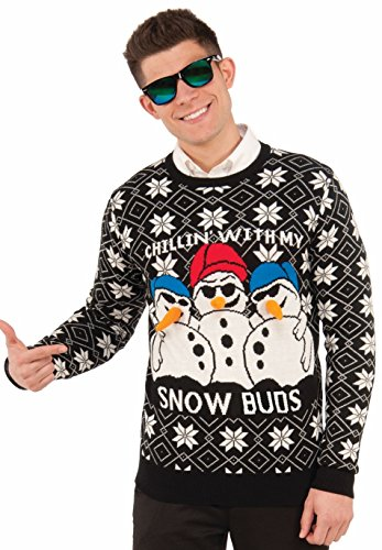Forum Novelties Men's Ugly Christmas Sweater, Snow Buds, Black/White, Medium