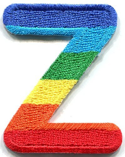 1.25 x 1.63 inches. Letter Z gay lesbian LGBT rainbow English alphabet embroidered applique iron-on patch - Usps Ship To To How Canada