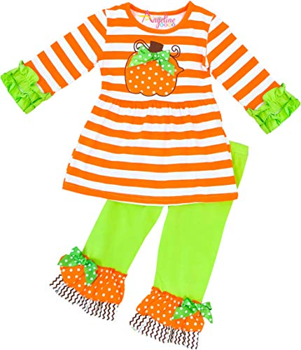 Little Girls Halloween Pumpkin Ruffles Pant Set Orange
