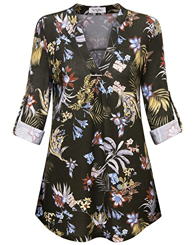 Large Flowered (YaYa Bay Long Sleeved Blouses For Women, Stylish Ladies Long Sleeve Pullover Pleated Front Cuffed Hem Tunic Tops Blouses XX Large Green Flowerred)