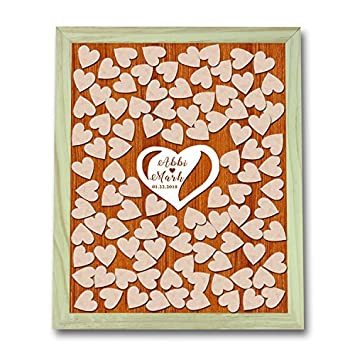Wedding Guest Book Alternative Heart Guestbook Drop Box Wooden Frame