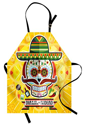Ambesonne Day of The Dead Apron, Mexican Sugar Skull with Tacos and Chili Pepper November 2nd Colorful Art Print, Unisex Kitchen Bib Apron with Adjustable Neck for Cooking Baking Gardening, Yellow